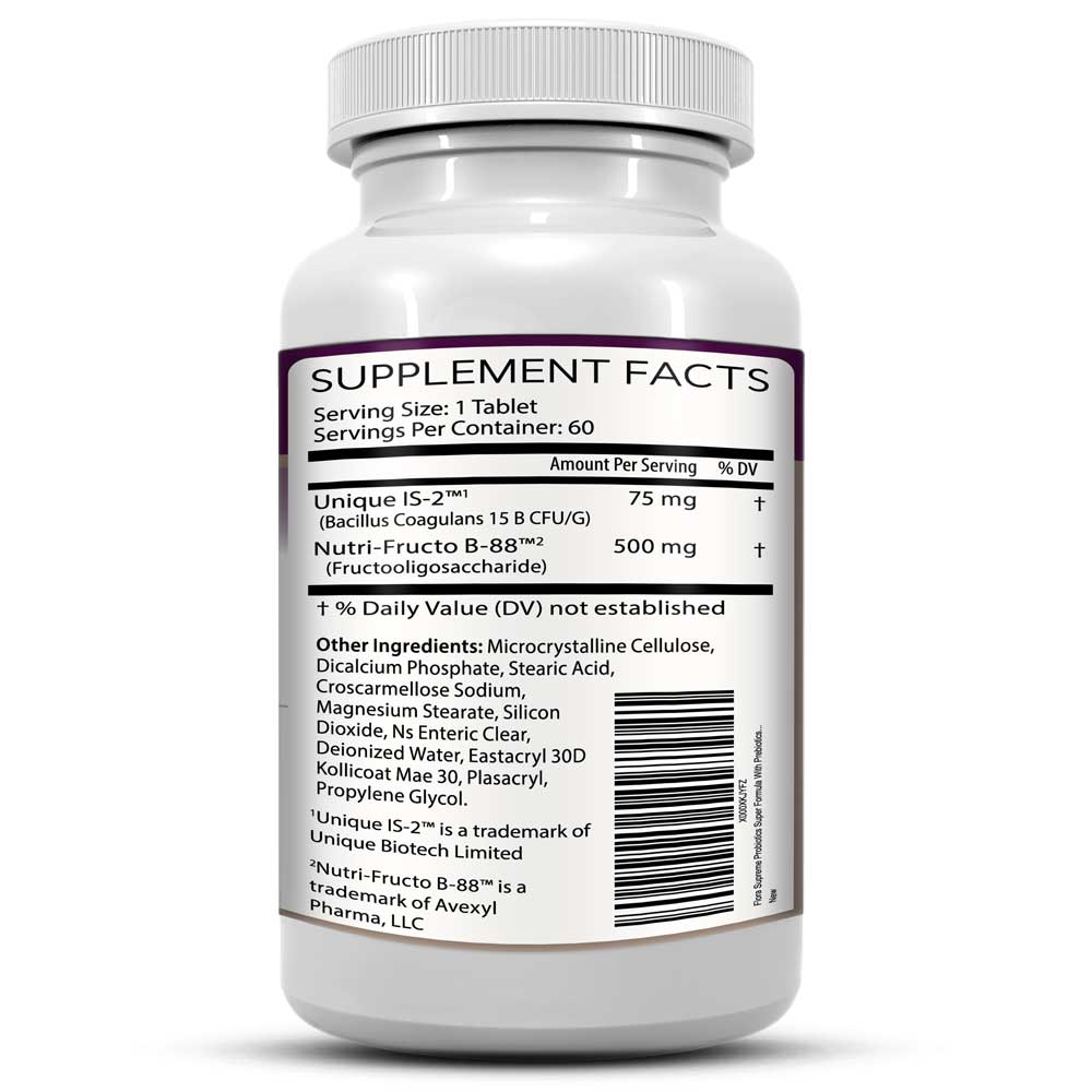 Flora Supreme Probiotics with Prebiotics Supplement Facts Bottle