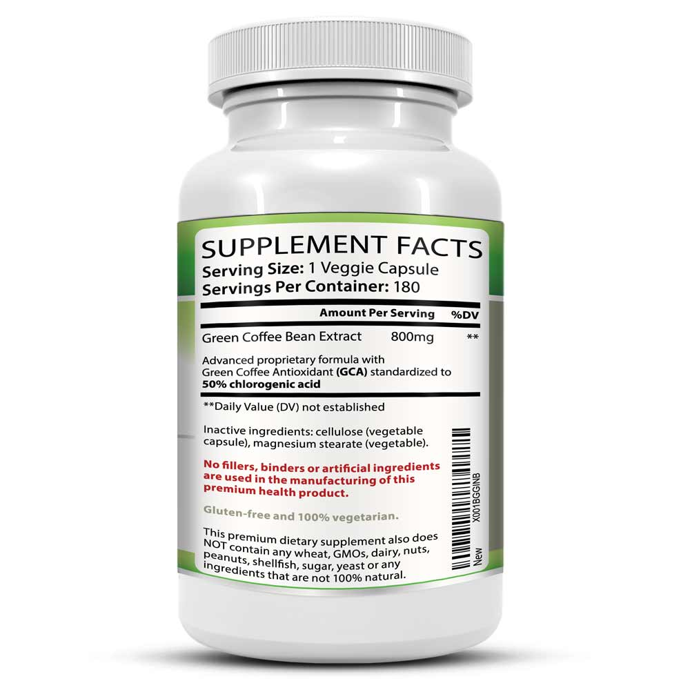 Green Coffee Bean Extract Supplement Facts Information Bottle