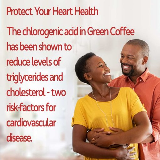 Man and Woman protecting heart health with chlorogenic acid and green coffee bean
