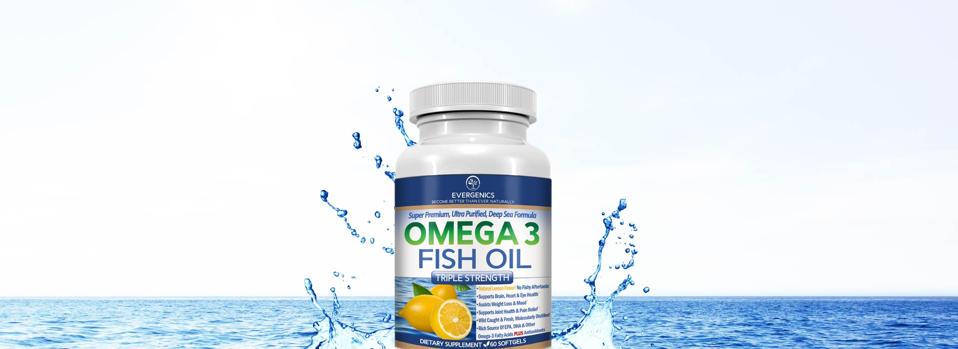 Omega 3 Fish Oil, Super Premium Wild Caught Formula From Evergenics