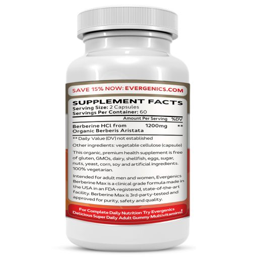Berberine Max HCl Organic Supplement Facts Bottle